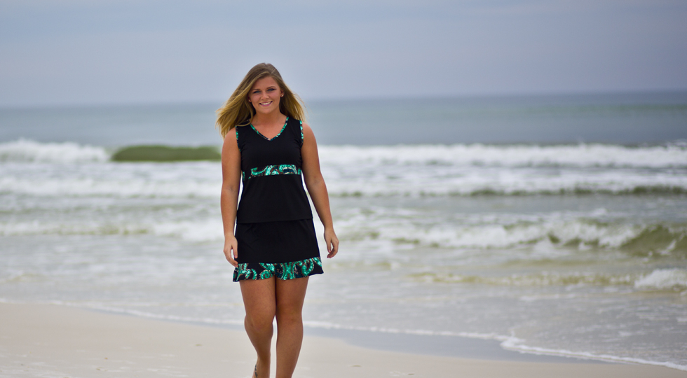 Ocean Wave Top and Ruffle Skirt