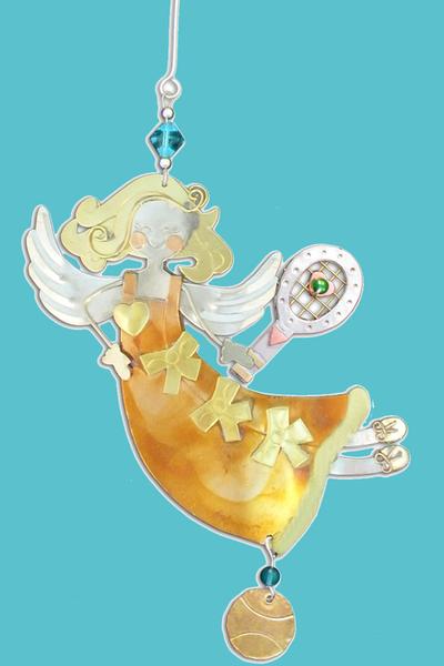 Amber Tennis Angel Christmas Ornament | Tennis Christmas Ornaments