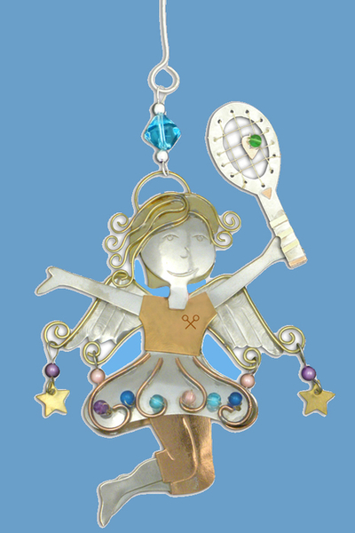 Joy Tennis Angel Ornament Exquisitely Crafted by Hand | Tennis Christmas Ornaments