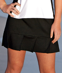 Image Pleated Tennis Skirt with Built In Compression Shorts Featured in Black