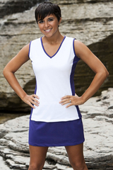 Image The Edge Tennis Top Featured in Deep Purple and White
