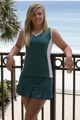 Image Edge Tennis Top Featured in Deep Emerald Green and White