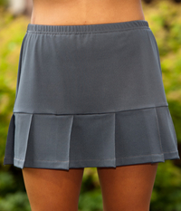 Image Pleated Tennis Skirt With Built In Shorts Featured in Pearl or Charcoal Gray