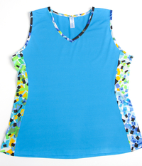 Image Custom Lime Blue Abstract and Turquoise Edge Tennis Top - Franklin, MA