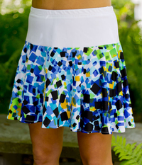 Image Flounce Tennis Skirt With Attached Shorts In Lime and Blue