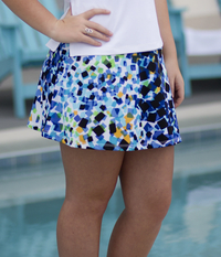 Image A Line Tennis Skirt With Shorts/Skort Featured in Lime and Blue Abstract