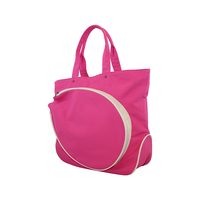 Image Pink Cotton Canvas Tennis Bag With Natural Trim