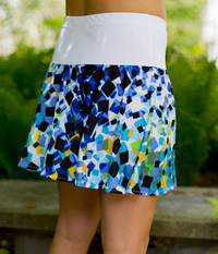 Image Size Medium - All Lime and Blue Flounce Tennis Skirt - No Shorts
