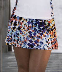 Image Size Small - A Line Tennis Skirt in Astana Blue - With Attached Shorts