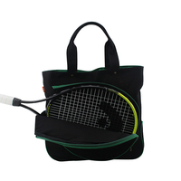 Image Black Cotton Canvas Tennis Bag With Emerald Trim