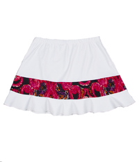 Image A Cute Rally Ruffle Skirt in White and Red/Pink Swirl - With Shorts