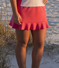 Image Ruffled Tennis Skirt With Built In Compression Shorts Featured in Pink