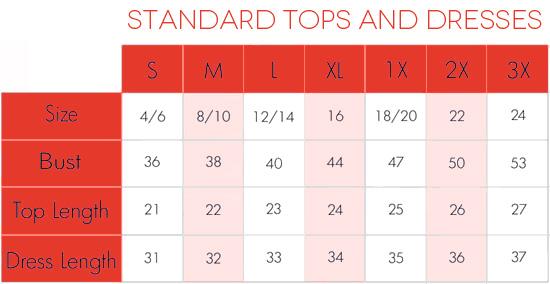 Standard Size Charts